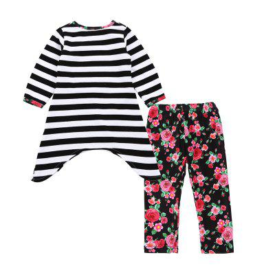 SOSOCOER Kids Girls Clothes Set Long Sleeved Skirt with Love Stripes + Flower Pants Two Piece