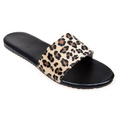 YQ-A97 Flat Bottomed Leopard Print with Open Toe Slippers