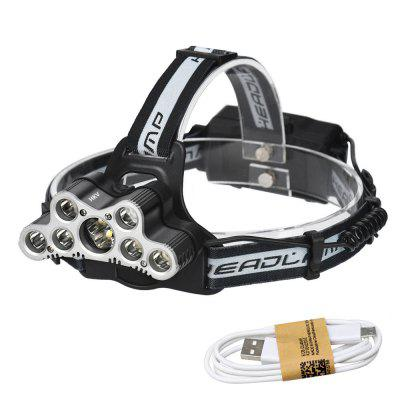 HKV XM - L T6 9LEDs USB Headlight Powerful Flashlight Head Torch Lamp with Life-saving Whistle