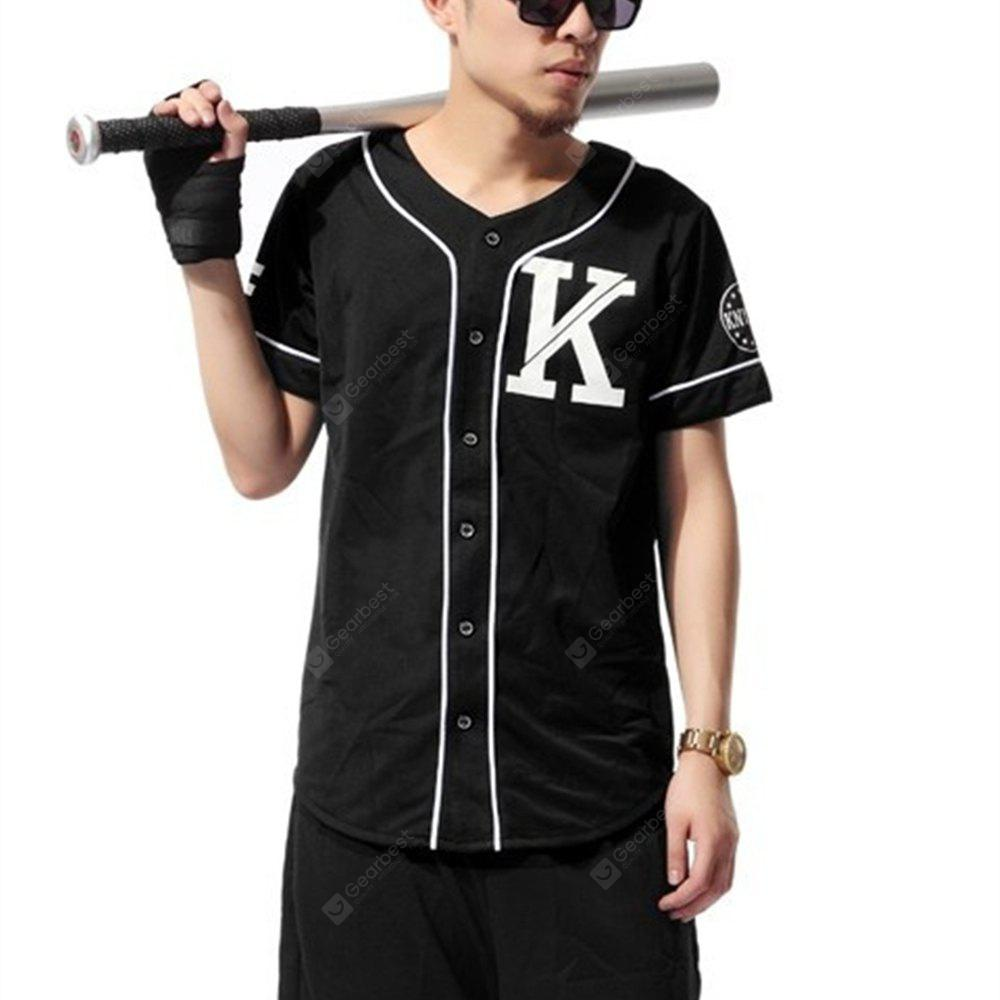 Fashion Retro Preppy Style Baseball Uniform Striped Short Sleeve T-Shirt