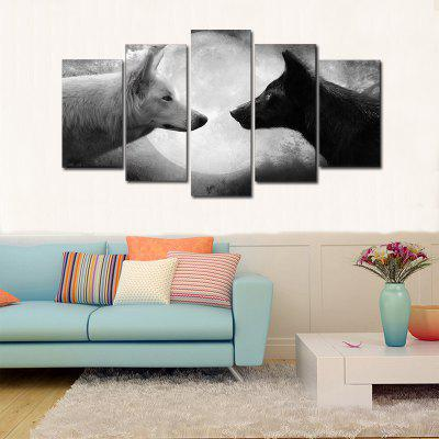 Home Decor Canvas Paintings Printed Black And White Wolves Wall Art  5 PiecesPainting<br>Home Decor Canvas Paintings Printed Black And White Wolves Wall Art  5 Pieces<br><br>Craft: Print<br>Form: Five Panels<br>Material: Canvas<br>Package Contents: 5 pcs<br>Package size (L x W x H): 27.00 x 5.00 x 5.00 cm / 10.63 x 1.97 x 1.97 inches<br>Package weight: 0.1800 kg<br>Painting: Without Inner Frame<br>Shape: Vertical<br>Style: Modern Style<br>Subjects: Animal<br>Suitable Space: Garden,Living Room,Bedroom,Dining Room,Office,Hotel,Study Room / Office,Game Room