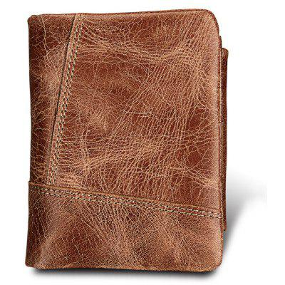 Crazy Horse Cowhide Genuine Leather Men Wallets Short Style Fashion Male Vintage Purse Clutch