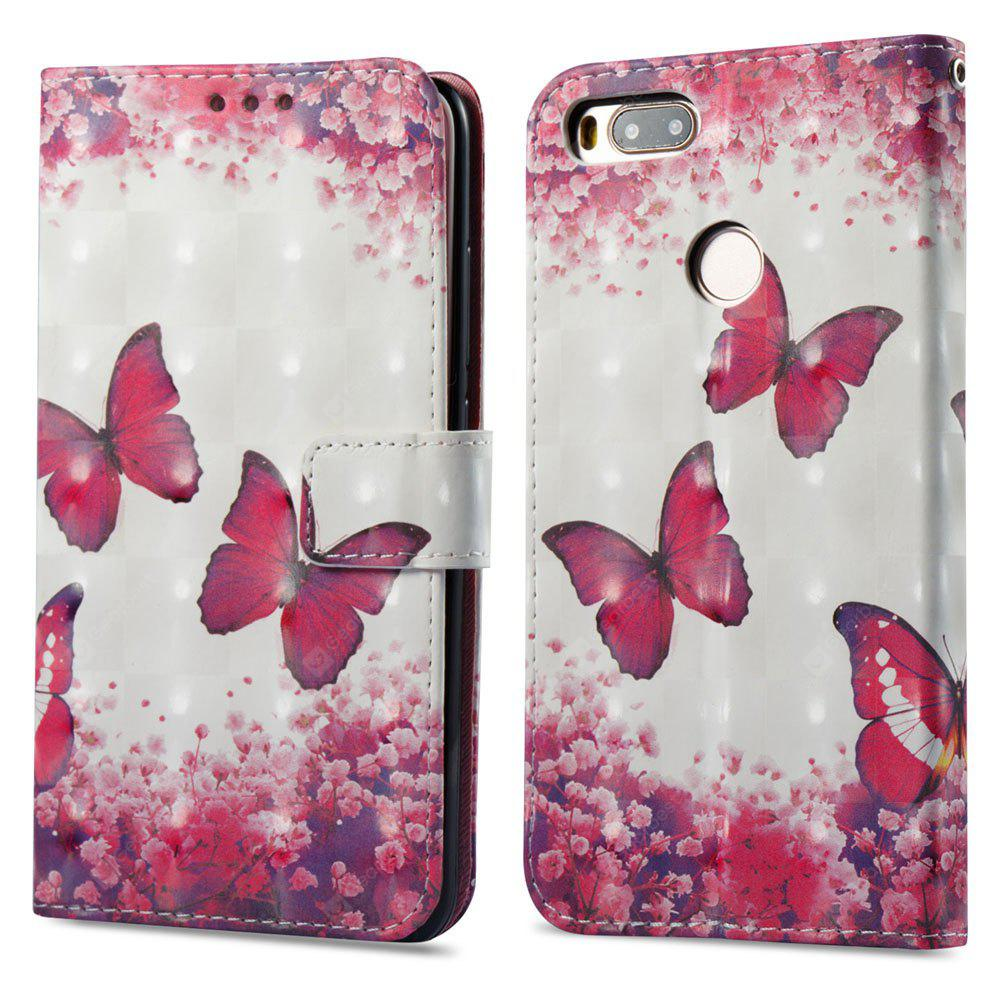 Capa de pintura 3D para Xiaomi Mi 5X Red Butterfly Pattern PU Leather Wallet Stand Cover