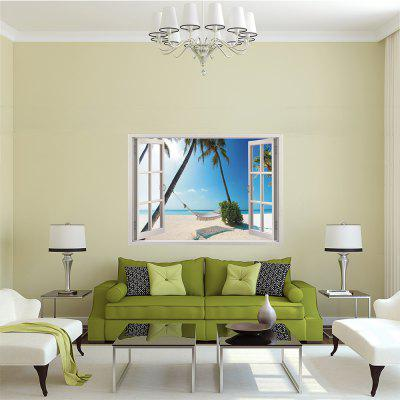 Living Room Background.  Creative 3D Windows Pleasing Seaside Swing Bedroom Living Room Background Wall Sticker