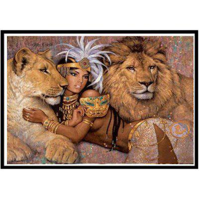 NAIYUE J625 Girl and Lion Print Draw 5D Diamond Painting Diamond Embroidery