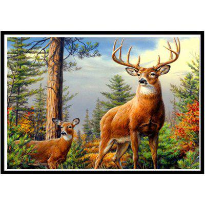 NAIYUE J826-2 Forest Deer Print Draw 5D Diamond Painting Diamond Embroidery