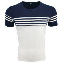 Men's Summer Round Collar Short Sleeved Striped Casual Fashion T-Shirt