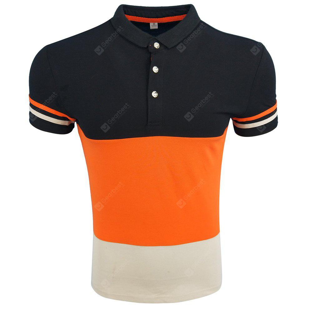 Men's Summer Lapel POLO Shirts Spliced Comfortable Casual Fashion