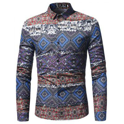 The New Spring Indian Wind Pattern Printing Mens Long Sleeve Shirt polo club original пуловер