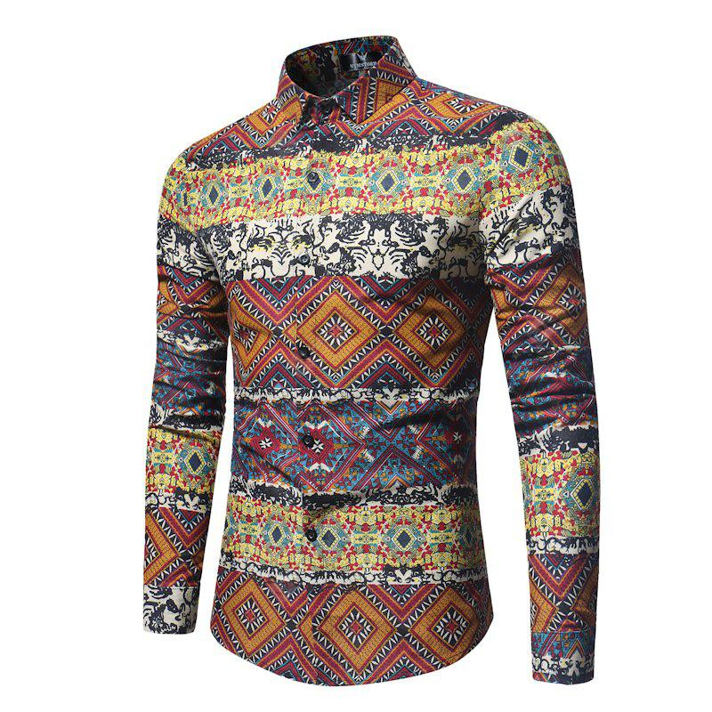 The New Spring Indian Wind Pattern Printing Mens Long Sleeve Shirt