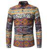 The New Spring Indian Wind Pattern Printing Mens Long Sleeve Shirt - RED
