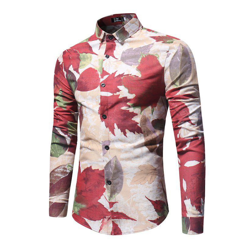 The New Spring Maple Printing Men'S Casual Shirt