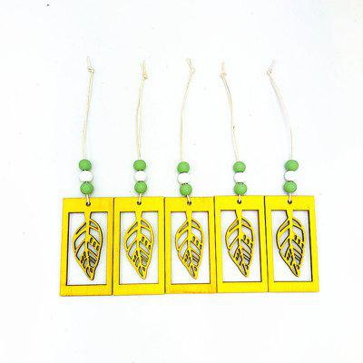 Yellow Hollow Leaves with Small Beads Home Decoration Pendant 5PCS
