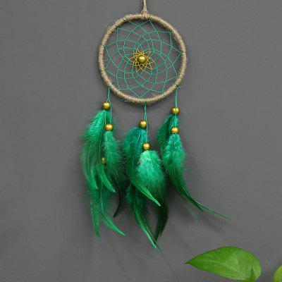 Dreamcatcher Gift Handmade Dream Catcher Net with Green Feathers Wall Hanging Decoration car Ornament