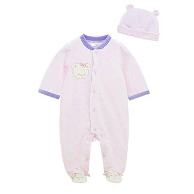 Wuawua Baby Romper Long Sleeve Cotton Footed Jumpsuit  with Hood