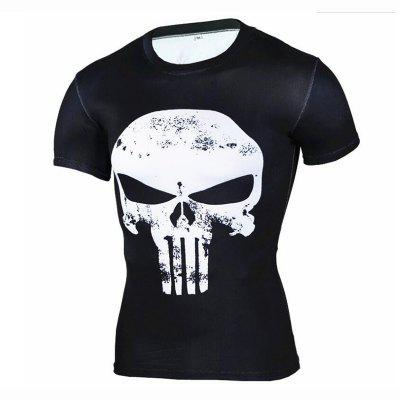 Men's Daily Sports Going out Beach Casual Active Punk Gothic Print Round Neck Short Sleeves Cotton Spandex T-shirt