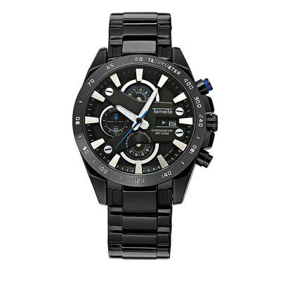 MenS Quartz Watch Faddish Calendar Sports Style Watch AccessoryMens Watches<br>MenS Quartz Watch Faddish Calendar Sports Style Watch Accessory<br><br>Available Color: Silver,Black,White and Black,Silver and Black<br>Band material: Stainless Steel<br>Band size: 2.2<br>Brand: Temeite<br>Case material: Stainless Steel<br>Clasp type: Folding clasp with safety<br>Dial size: 4.5<br>Display type: Analog<br>Movement type: Quartz watch<br>Package Contents: 1 x Watch 1 x Box<br>Package size (L x W x H): 16.00 x 8.00 x 3.00 cm / 6.3 x 3.15 x 1.18 inches<br>Package weight: 0.1400 kg<br>Product size (L x W x H): 24.00 x 4.50 x 1.40 cm / 9.45 x 1.77 x 0.55 inches<br>Product weight: 0.0900 kg<br>Shape of the dial: Round<br>Special features: Working sub-dial, Day, Light<br>Watch mirror: Mineral glass<br>Watch style: Fashion, Business, Casual<br>Watches categories: Men<br>Water resistance: 30 meters<br>Wearable length: 24