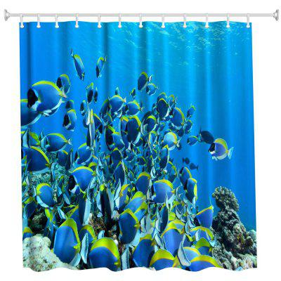Fish Polyester Shower Curtain Bathroom  High Definition 3D Printing Water-Proof