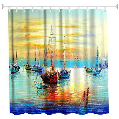 Oil Boat Polyester Shower Curtain Bathroom  High Definition 3D Printing Water-Proof