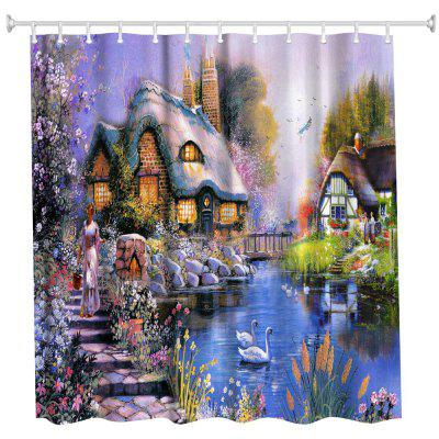 Oil Painting Town 3 Polyester Shower Curtain Bathroom  High Definition 3D Printing Water-Proof
