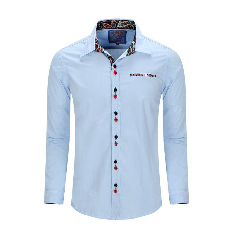 Summer Fashion and Casual Color Print Splicing Cotton Lapel Shirt