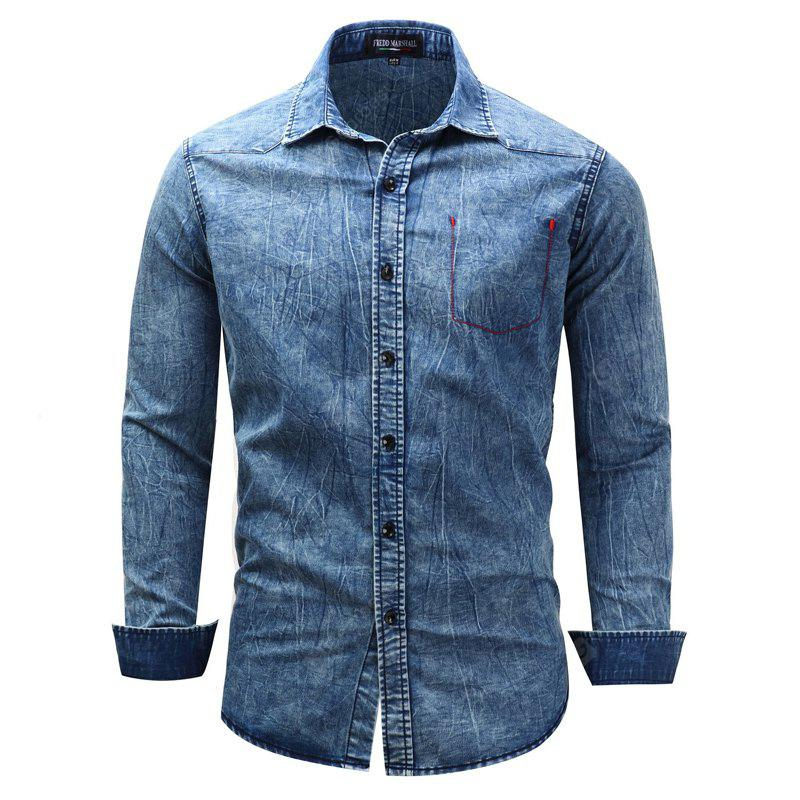 Fashionable Leisure and Pure Cotton Lapel Cowboy Long-Sleeve Shirt