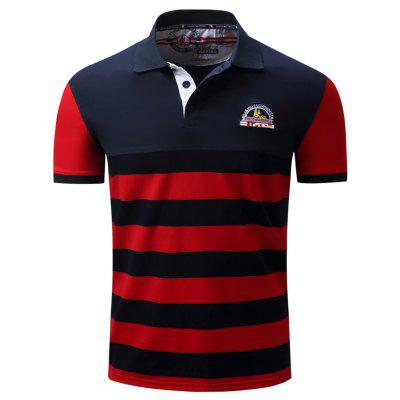 Fashion and Simple Casual Color Stripe Spliced Cotton Collared Summer Short-Sleeved POLO Shirts