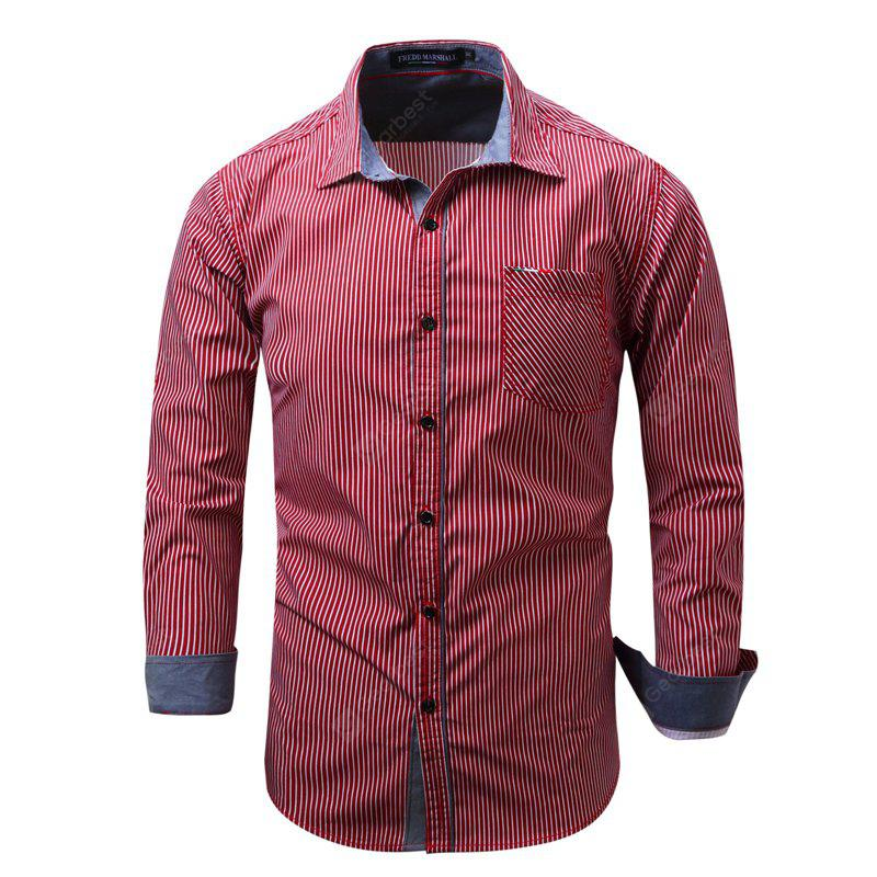 Fashion and Simple Casual Color Stripe Splicing Cotton Collared Long-Sleeved Shirt