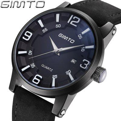 GIMTO Top Brand Men Sport Watch Black Leather Quartz Creative Male Wrist Watches Calendar Casual Man Clock RelogioMontreMens Watches<br>GIMTO Top Brand Men Sport Watch Black Leather Quartz Creative Male Wrist Watches Calendar Casual Man Clock RelogioMontre<br><br>Available Color: Black,Brown<br>Band material: Genuine Leather<br>Case material: Alloy<br>Clasp type: Pin buckle<br>Display type: Analog<br>Movement type: Quartz watch<br>Package Contents: 1xWatch<br>Package size (L x W x H): 27.00 x 4.60 x 1.70 cm / 10.63 x 1.81 x 0.67 inches<br>Package weight: 0.8800 kg<br>Product size (L x W x H): 25.50 x 4.40 x 1.50 cm / 10.04 x 1.73 x 0.59 inches<br>Product weight: 0.7800 kg<br>Shape of the dial: Round<br>Special features: Day<br>Watch style: Fashion, Casual, Business<br>Watches categories: Men,Male table<br>Water resistance: Life water resistant