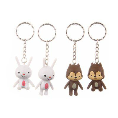 Lovely Squirrel White Rabbit Key Chain Toys Pendants 4pcs