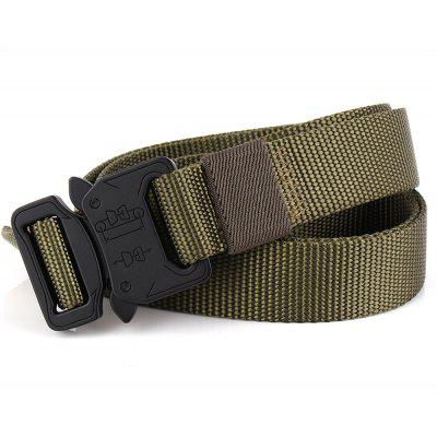 Safe Design Tactical Weaving Belt with Metal Buckle  Adjustable Nylon Waist Belt Outdoor SportMens Belts<br>Safe Design Tactical Weaving Belt with Metal Buckle  Adjustable Nylon Waist Belt Outdoor Sport<br><br>Belt Length: 125CM<br>Belt Material: Canvas,Knitted<br>Belt Silhouette: Skinny Belt<br>Belt Width: 2.5CM<br>Buckle Length: 5CM<br>Buckle Width: 3.5CM<br>Gender: For Men<br>Group: Adult<br>Package Contents: 1 X Belt<br>Package size (L x W x H): 15.00 x 15.00 x 10.00 cm / 5.91 x 5.91 x 3.94 inches<br>Package weight: 0.3000 kg<br>Pattern Type: Solid<br>Product size (L x W x H): 125.00 x 2.50 x 0.50 cm / 49.21 x 0.98 x 0.2 inches<br>Product weight: 0.2000 kg<br>Style: Fashion