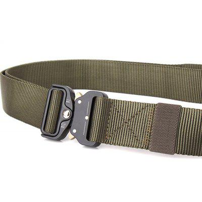 Tactical Waist Belt Military Style Shooters Nylon Belt with Metal Buckle Outdoor SportMens Belts<br>Tactical Waist Belt Military Style Shooters Nylon Belt with Metal Buckle Outdoor Sport<br><br>Belt Length: 125CM<br>Belt Material: Canvas,Metal,Knitted<br>Belt Silhouette: Wide Belt<br>Belt Width: 3.8CM<br>Buckle Length: 6CM<br>Buckle Width: 5CM<br>Gender: For Men<br>Group: Adult<br>Package Contents: 1 X Belt<br>Package size (L x W x H): 10.00 x 10.00 x 5.00 cm / 3.94 x 3.94 x 1.97 inches<br>Package weight: 0.2400 kg<br>Pattern Type: Solid<br>Product size (L x W x H): 125.00 x 3.80 x 0.30 cm / 49.21 x 1.5 x 0.12 inches<br>Product weight: 0.2000 kg<br>Style: Fashion