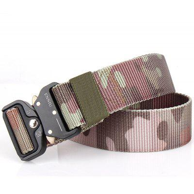 Multi-Function Camouflage Tactical Belt Military Style Shooters Nylon Belt with Metal BuckleMens Belts<br>Multi-Function Camouflage Tactical Belt Military Style Shooters Nylon Belt with Metal Buckle<br><br>Belt Length: 125CM<br>Belt Material: Canvas,Metal,Knitted<br>Belt Silhouette: Wide Belt<br>Belt Width: 3.8CM<br>Buckle Length: 6CM<br>Buckle Width: 5CM<br>Gender: For Men<br>Group: Adult<br>Package Contents: 1 X Belt<br>Package size (L x W x H): 10.00 x 10.00 x 5.00 cm / 3.94 x 3.94 x 1.97 inches<br>Package weight: 0.3000 kg<br>Pattern Type: Geometric<br>Product size (L x W x H): 125.00 x 3.80 x 0.30 cm / 49.21 x 1.5 x 0.12 inches<br>Product weight: 0.2000 kg<br>Style: Punk