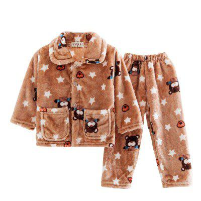 Spring and Autumn Flannel Boys Pajamas Five-Star Bear Case Warm Home Suit