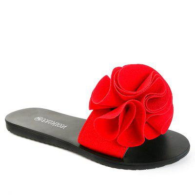 Slippers with Flat Bottom and Antiskid Flowers