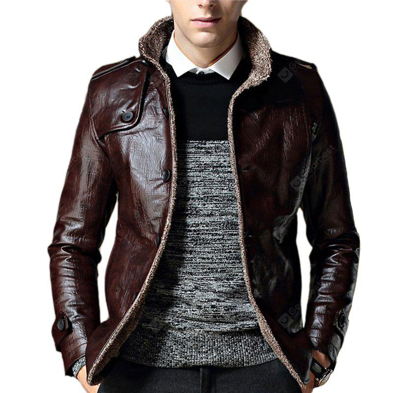 B1212 Men's Synthetic Leather Jacket Thicken Warm Stylish Jacket