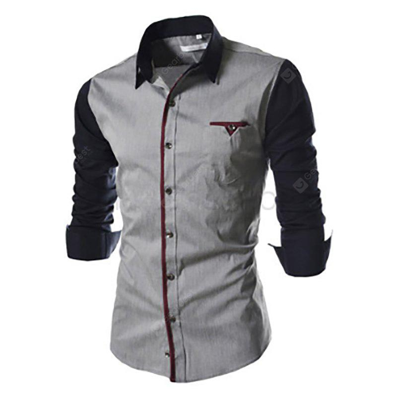 New Men's Long Sleeve Stitching Sleeve Design Casual Shirt