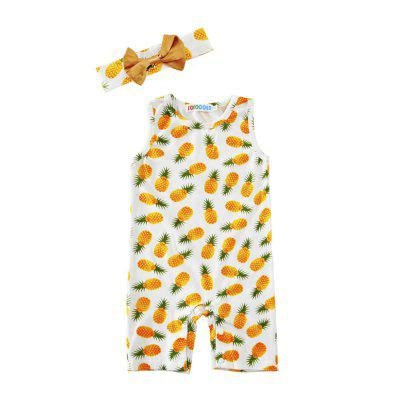 SOSOCOER Baby Girls Clothes Set Newborn Infant Bodysuits Pineapple Stamp Headband and Sleeveless Jumpsuit Two Piece