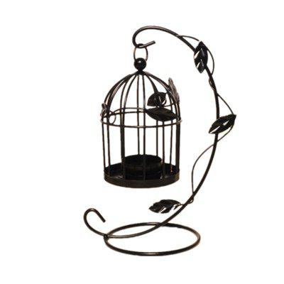 Creative Home Decoration Wrought Iron Hollow Birdcage Candlestick