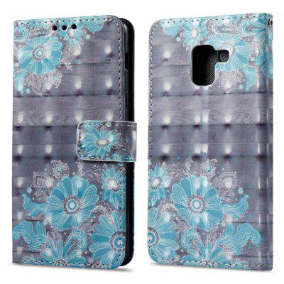 3D Painting Filp Case for Samsung Galaxy A8 2018 Blue Flower Pattern PU Leather Wallet Stand Cover