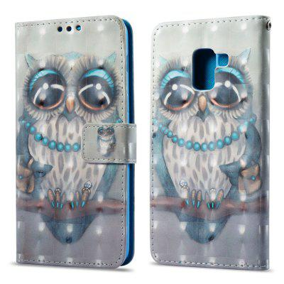 3D Painting Filp Case for Samsung Galaxy A8 2018 Gray Owl Pattern PU Leather Wallet Stand Cover