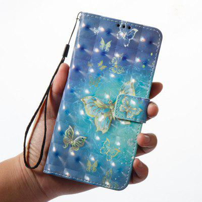 3D Painting Filp Case for Samsung Galaxy A8 2018 Golden Butterfly Pattern PU Leather Wallet Stand Cover