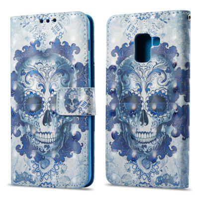 3D Painting Filp Case for Samsung Galaxy A8 2018 Blue Skull Pattern PU Leather Wallet Stand Cover