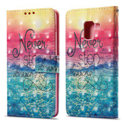 3D Painting Filp Case for Samsung Galaxy A8 Plus 2018 Ocean Pattern PU Leather Wallet Stand Cover