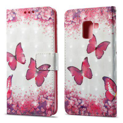 3D Painting Filp Case for Samsung Galaxy A8 Plus 2018 Red Butterfly Pattern PU Leather Wallet Stand Cover