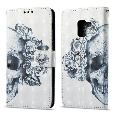 3D Painting Filp Case for Samsung Galaxy A8 Plus 2018 Skeleton Pattern PU Leather Wallet Stand Cover