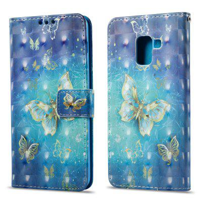 3D Painting Filp Case for Samsung Galaxy A8 Plus 2018 Golden Butterfly Pattern PU Leather Wallet Stand Cover
