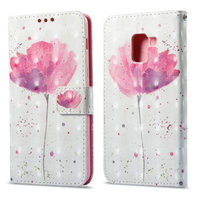 3D Painting Filp Case for Samsung Galaxy A8 Plus 2018 Lotus Pattern PU Leather Wallet Stand Cover