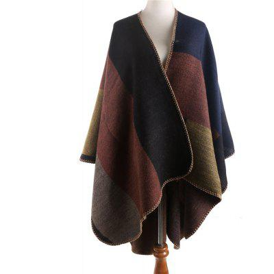 M1644 Polychromatic Square Plaid Imitation Cashmere Shoulder