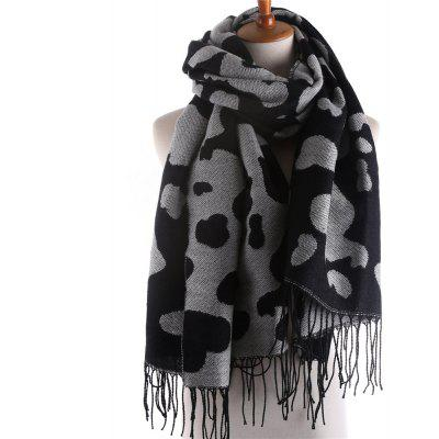 M1656 Cow with Thick Warm Cashmere Fringed Scarf